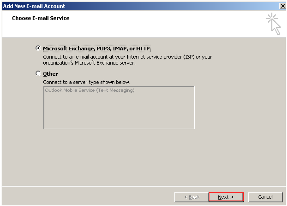 Outlook 2007 add account