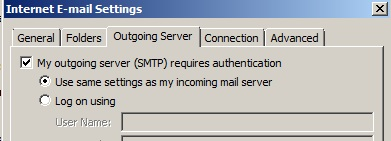Outlook 2007 outgoing mail server