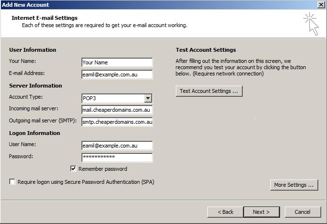 Outlook 2007 settings