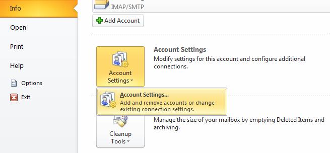Outlook 2010 menu