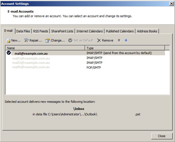 Outlook 2010 Account Setting select mail account