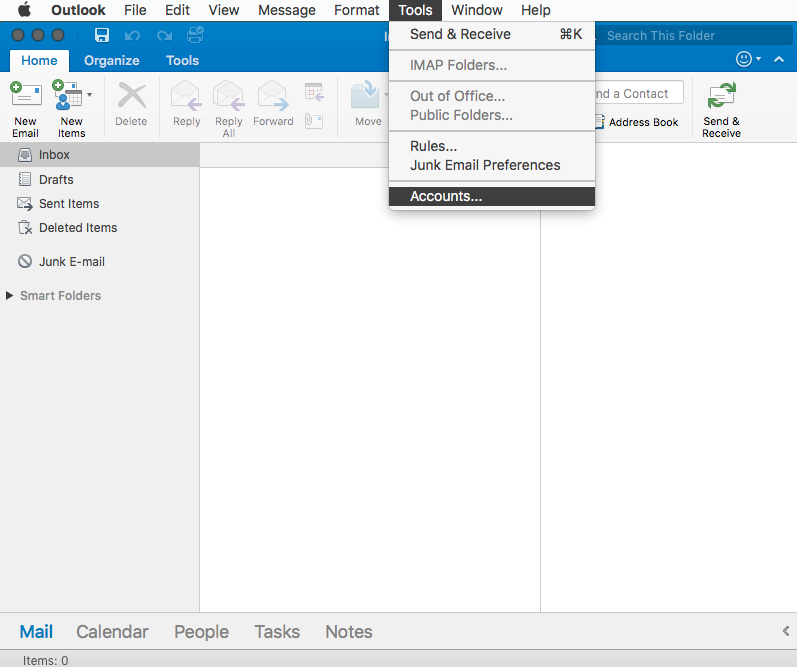 Outlook 2016 Mac Accounts Panel